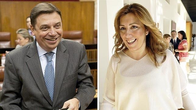 Luis Planas y Susana Díaz, en el Parlamento de Andalucía