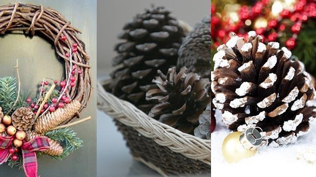 C mo decorar tu casa en navidad con poco dinero - Decorar pinas naturales ...