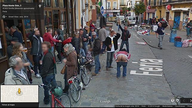 El calvo de la calle feria pillado por google maps for Servicio tecnico jane sevilla calle feria