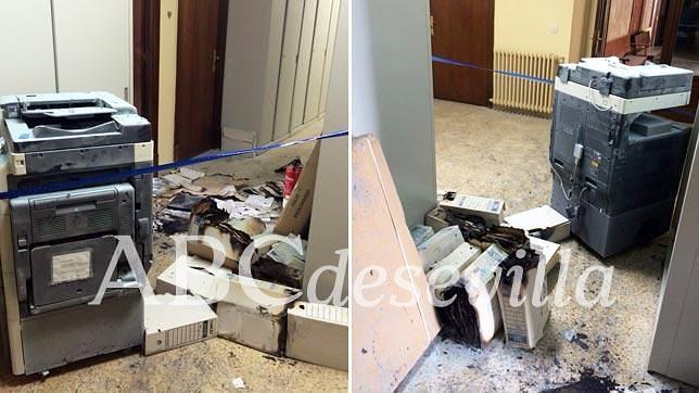 Estado de la fotocopiadora y algunos archivos de la planta tercera de los juzgados de Sevilla tras el incendio