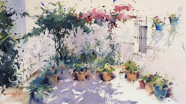 Uno de los cuadros que forman parte de la exposición, «Juego de Luces»
