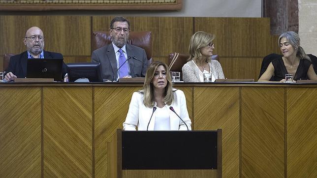 La presidenta la Junta, durante su intervención, este miércoles