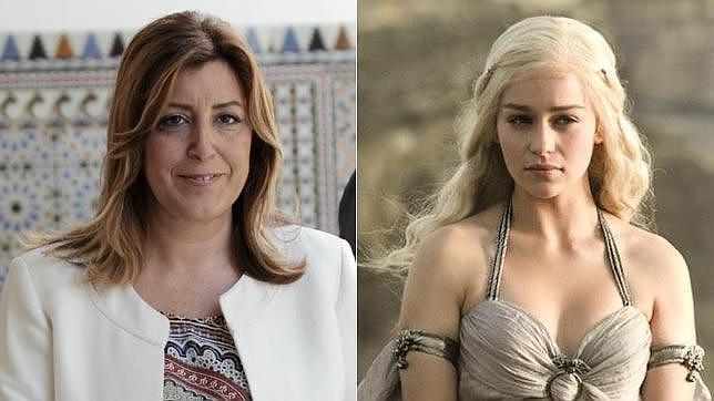 La presidenta de la Junta, Susana Díaz y la actriz Emilia Clarke caracterizada como «Khaleesi»