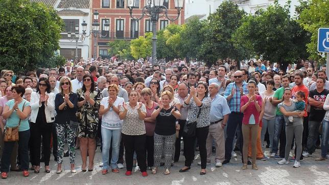 Un momento, ayer, de la protesta contra la inseguridad ciudadana