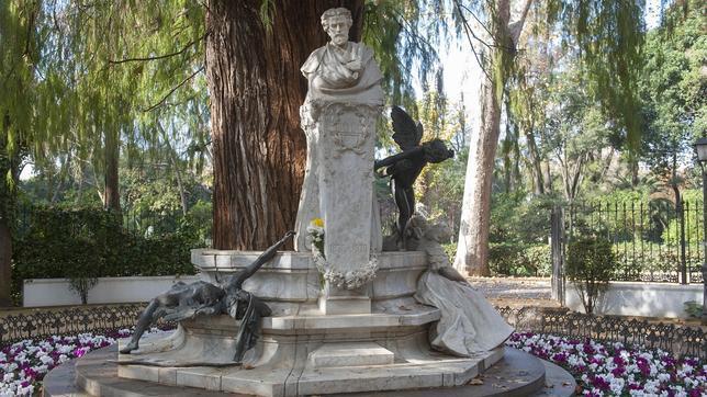 La leyenda de Bécquer, en el parque María Luisa, simboliza la rima «El amor que pasa»