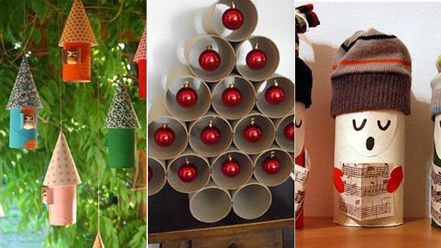 Diez Adornos De Navidad Baratos Con Materiales Que Tienes En Casa - Adornos-de-navidad-con-rollo-de-papel-higienico