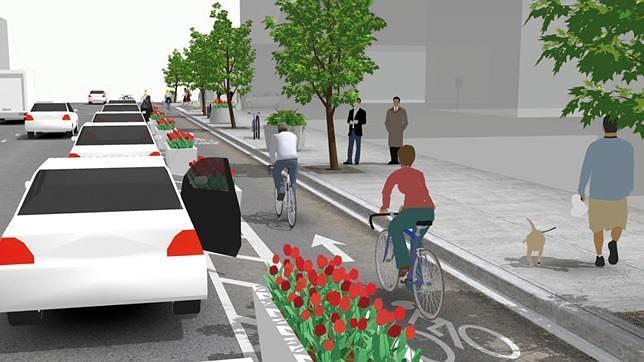 Recreación del carril bici por la avenida de España