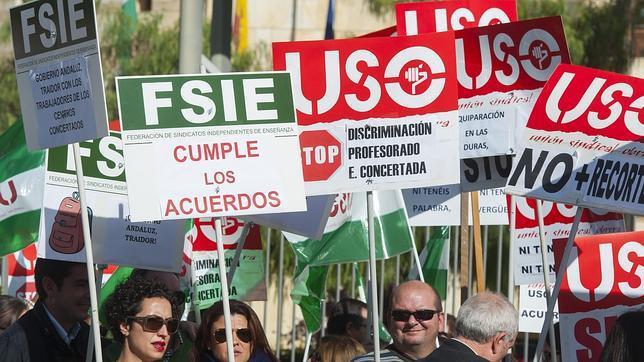 Protesta de profesores de la enseñanza concertada
