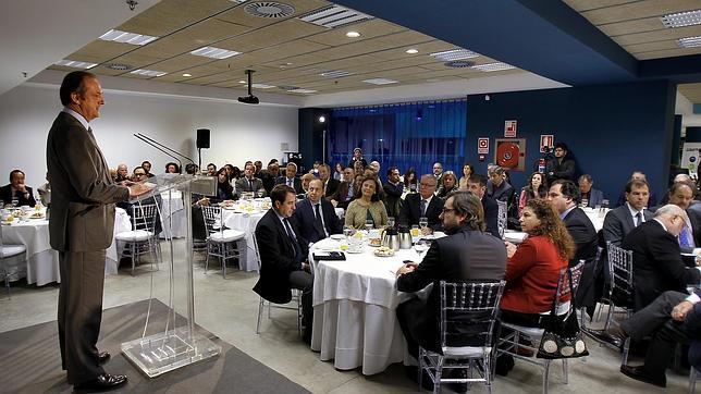 El vicepresidente de ENCE durante su intervención en el acto, que se celebró en El Cubo