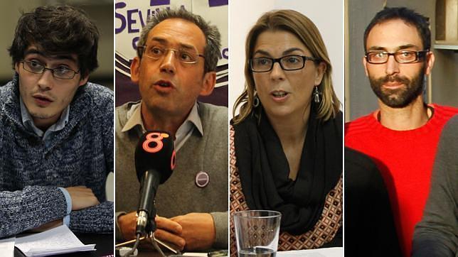 De izquierda a derecha, el secretario de Política de Podemos Sevilla, Jesús Jurado; el jurista Joaquín Urías, la secretaria general de Podemos Sevilla, Begoña Gutiérrez y el secretario de Estrategia y Discurso de Podemos Sevilla. José Candón