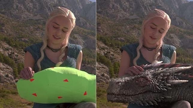 Daenerys Targaryen (Emilia Clarke) acaricia a uno de sus dragones