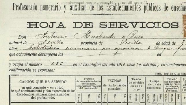 Hoja  de servicios de Atnonio machado uno de los 30 documentos disponibles
