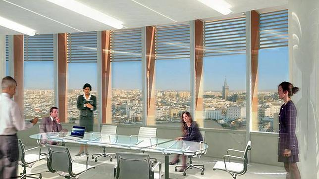 Infografía de las vistas que tendrá la Torre Pelli desde las oficinas de las plantas altas