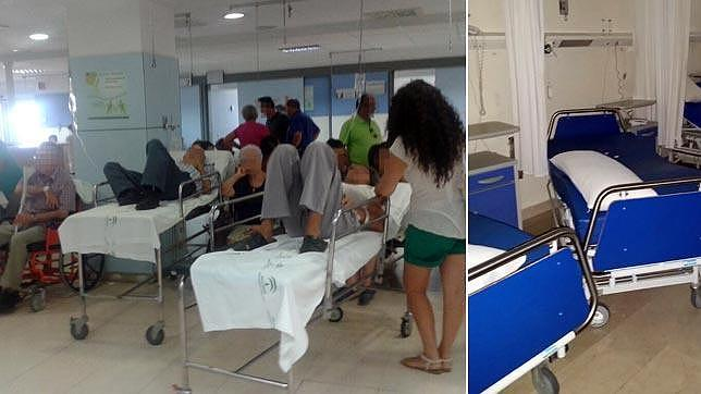 La sala de urgencias llena y las camas vacías en las habitaciones cerradas