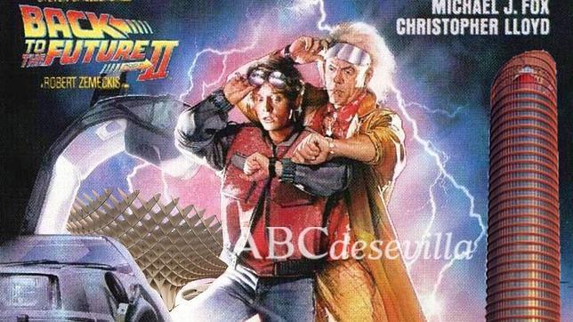 Montaje del cartel de la película con las Setas y la Torre Pelli