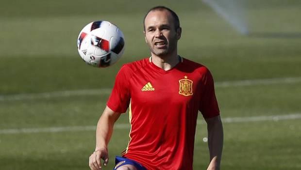 Andrés Iniesta, en un entrenamiento.