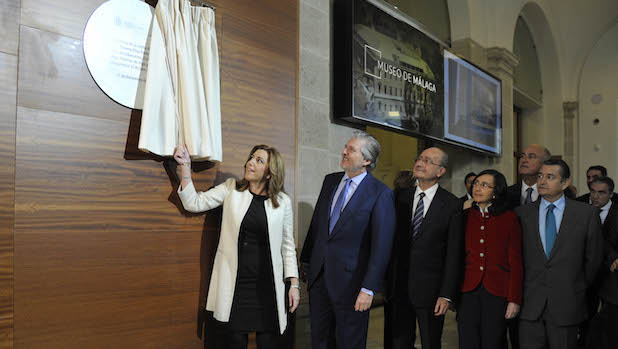 Susana Díaz e Íñigo Méndez de Vigo, acompañados por las autoridades, durante la inauguración del Museo de Málaga