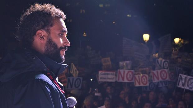 Spiriman, en la manifestación de Jaén que coincidió con un mitin de Susana Díaz. / L.R.