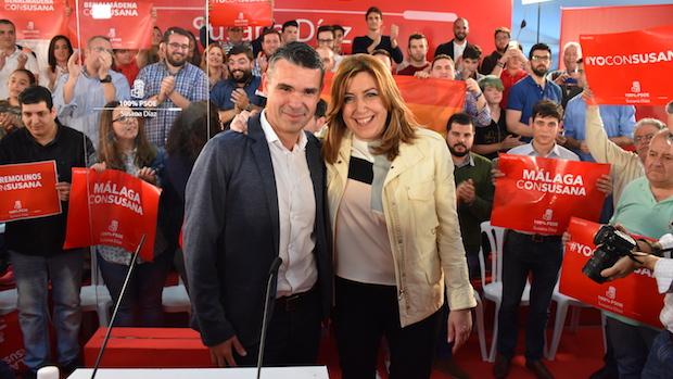 Susana Díaz y José Bernal, durante el acto de la candidata a la Secretaría General del PSOE en Marbella
