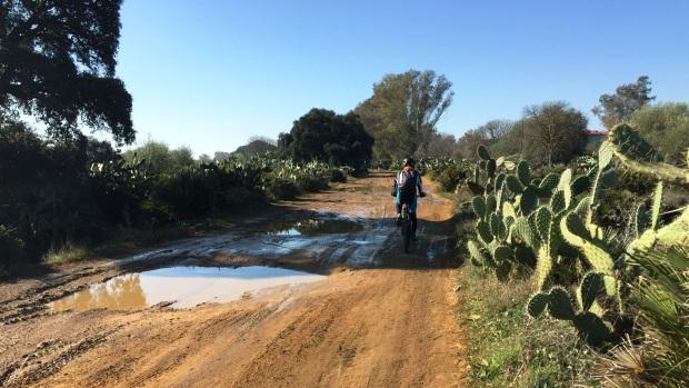 Grandes baches que se convierten en charcos con la lluvia hacen muy difícil recorrer este camino