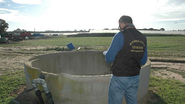 Un agente del Seprona de la Guardia Civil junto a un pozo ilegal