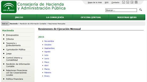 Web de la Consejería de Hacienda, con datos sin actualizar desde noviembre