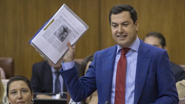 El portavoz del grupo parlamentario del PP, Juanma Moreno