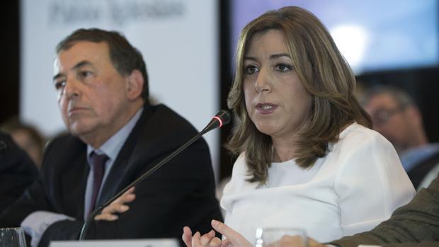 La presidenta andaluza, Susana Díaz, junto a Luis Ayala durante el Comité Mediterráneo de la Internacional Socialista