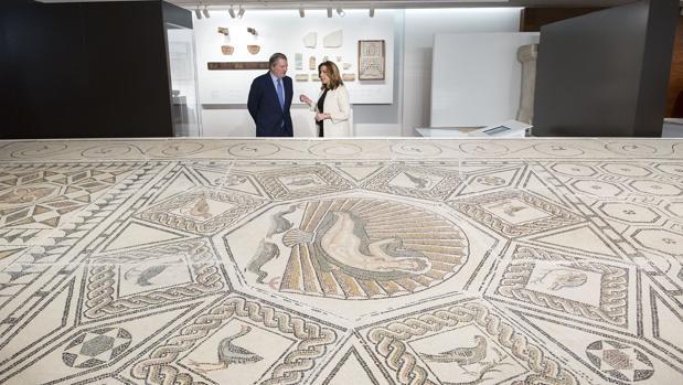 Mosaico romano «Nacimiento de Venus», en el Museo de la Aduana de Málaga
