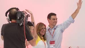 Susana Díaz y Pedro Sánchez en el Congreso extraordinario del PSOE del 28 de junio de 2014