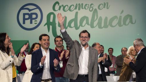 El presidente del Gobierno y líder del PP, Mariano Rajoy, en el XV congreso andaluz