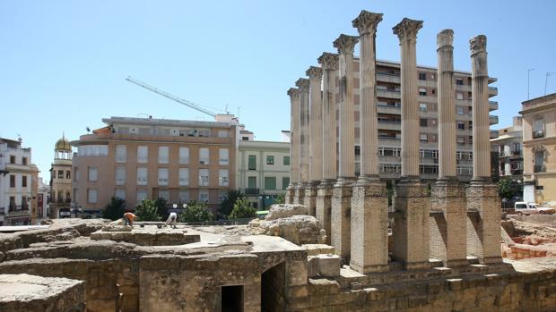 Imagen de la últimas obras acometidas en el Templo Romano anexo al Ayuntamiento de la capital