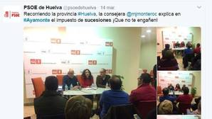 Imagen tomada de las redes sociales de la charla de la consejera de Hacienda en Ayamonte