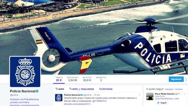 El perfil de Twitter de la Policía Nacional