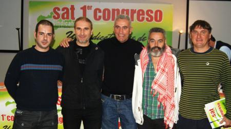 Juan Porras, primero por la derecha, junto a Cañamero y Sánchez-Gordillo