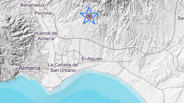 La estrella marca el lugar del epicentro del seismo