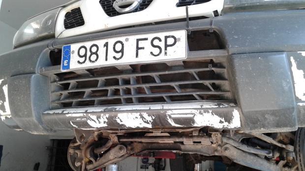 Estado de deterioro de uno de los vehículos