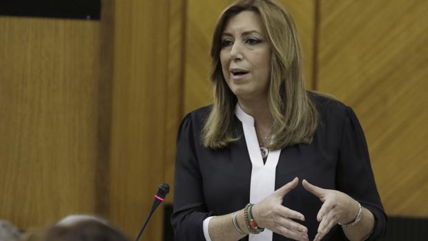 La presidenta de la Junta, Susana Díaz, este jueves en el Parlamento