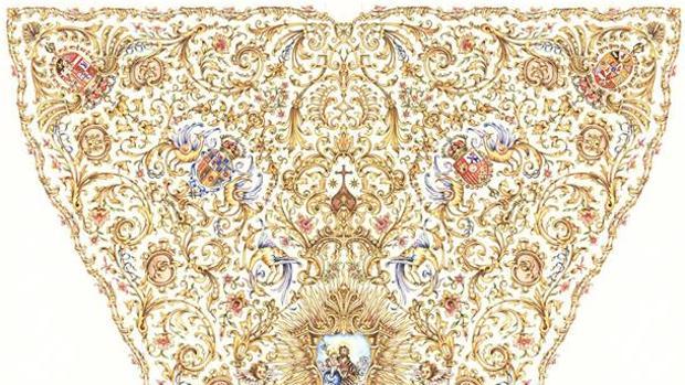 Parte superior del diseño de la futura capa de la Virgen del Carmen