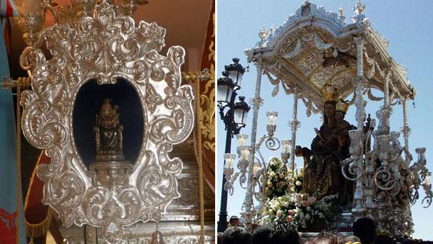 El «Pendón» –izquierda– es la única replica oficial y bendecia de la Virgen de la Bella de Lepe