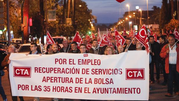 Manifestación de CTA contrala política laboral del Ayuntamiento en enero de 2016