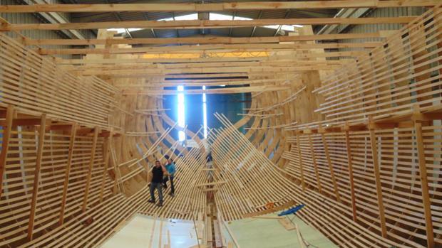 La construcción de la Nao Santa María se está realizando en los astilleros de Punta Umbría