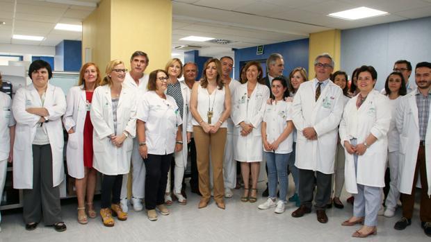 Susana Díaz, el viernes en el Hospital de Valme de Sevilla a donde realizó una visita institucional