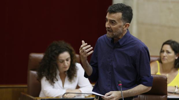 El portavoz de IU, Antonio Maíllo, durante su intervención en el Pleno del Parlamento