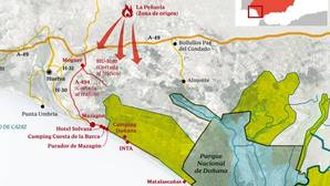 Mapa del incendio en el entorno de Doñana
