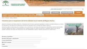 Imagen del formulario a rellenar en la web de la Consejería de Medio Ambiente