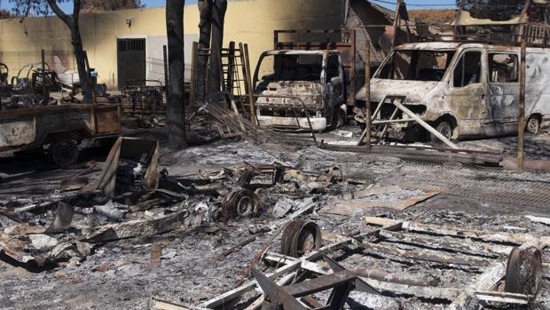 Efecto del fuego en el camping de Doñana