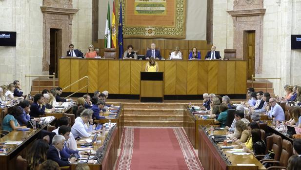 Vista del salón de plenos del Parlamento de Andalucía