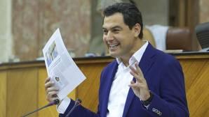 El presidente del PP andaluz, Juanma Moreno, este miércoles en el Parlamento