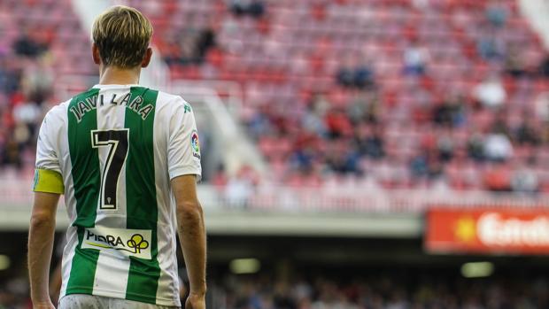 El centrocampista del Córdoba Javi Lara el sábado en el Mini Estadi